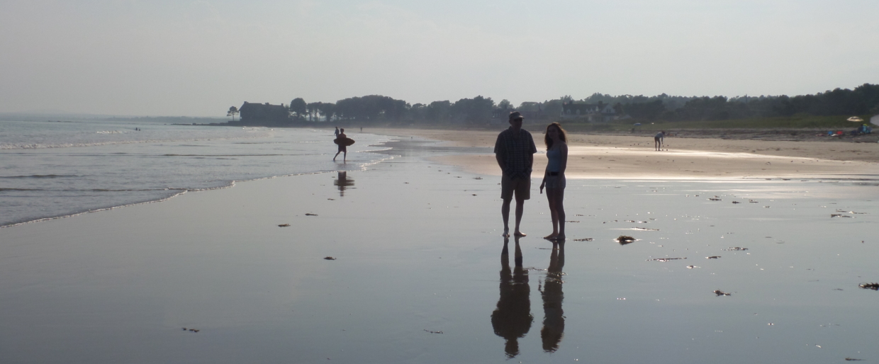 husband and daughter in Parson's Beach, Wells Maine 2016